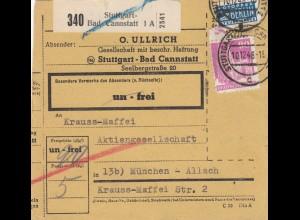 BiZone Paketkarte 1948: Stuttgart nach München Allach, Selbstbucherkarte
