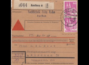 BiZone Paketkarte 1948: Aachen nach München, Nachnahme