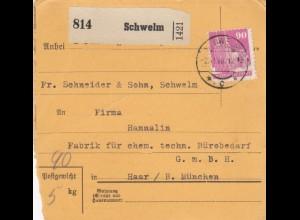 BiZone Paketkarte 1948: Schwelm nach Haar b. München