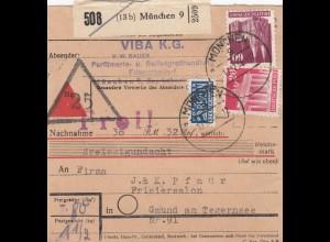 BiZone Paketkarte 1948: München 9 nach Gmund am Tegernsee