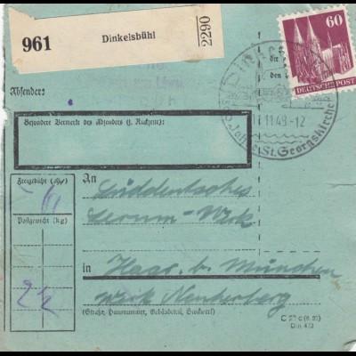 BiZone Paketkarte 1948: Dinkelsbühl nach Haar b. München, seltenes Formular