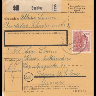 BiZone Paketkarte 1948: Buchloe nach Bayern, Haar - US Zone