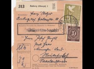 BiZone Paketkarte 1948: Amberg nach München, Neukeferloh