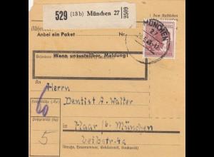 BiZone Paketkarte 1948: München 27 nach Haar bei München