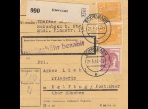 BiZone Paketkarte 1948: Schwabach nach Eglfing, Pflegerin