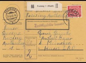 BiZone Paketkarte 1948: Freising nach München, Anstalt Haar