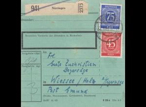BiZone Paketkarte 1947 Nürtingen nach Wiessee/Holz, Tegernsee, seltenes Formular