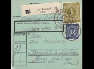 BiZone Paketkarte 1946: Freising nach Thal b. Schönau, seltenes Formular