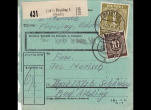 BiZone Paketkarte 1946: Freising nach Thal/Bad Aibling, seltenes Formular