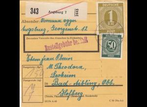 BiZone Paketkarte 1946: Augsburg nach Bad-Aibling, Hofberg
