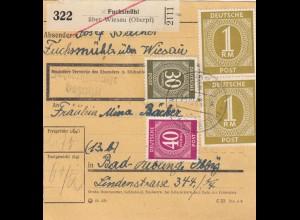 BiZone Paketkarte 1946: Fuchsmühl nach Bad Aibling