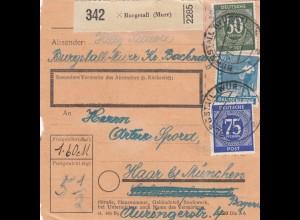 BiZone Paketkarte 1948: Burgstall nach Haar bei München