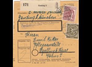 BiZone Paketkarte 1948: Gauting nach Eglfing Haar, Pflegeanstalt