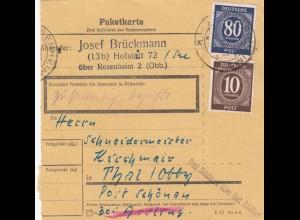 BiZone Paketkarte 1948: Hofstatt über Rosenheim nach Thal