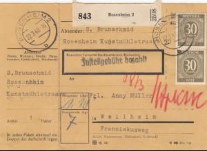 BiZone Paketkarte 1948: Rosenheim nach Weilheim