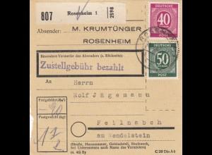 BiZone Paketkarte 1947: Rosenheim 1 nach Feilnbach