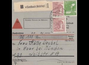 BiZone Paketkarte 1948: Sandbach nach Haar bei München, seltenes Formular