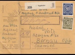 BiZone Paketkarte 1947: Egglkofen nach Bernau, Chiemsee