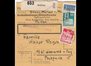 BiZone Paketkarte 1948: Raubling nach Gmund a. Teg., Selbstbucherkarte Notopfer