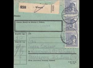 BiZone Paketkarte 1947: Wieseth nach Weissenbach, seltenes Formular