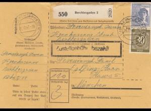 BiZone Paketkarte 1947: Berchtesgarden nach München, Eglfing-Haar