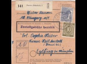 BiZone Paketkarte 1947: Passau nach Eglfing, Nerven-Heilanstalt