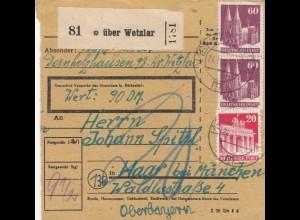 BiZone Paketkarte 1948: Dornholzhausen über Wetzlar nach Haar, Wertkarte 90 DM