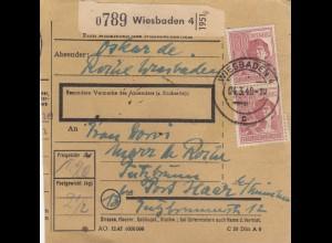 BiZone Paketkarte 1948: Wiesbaden nach Post Haar, Putzbrunn