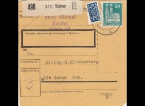 BiZone Paketkarte 1949: Tutzing nach Gmund Obb.
