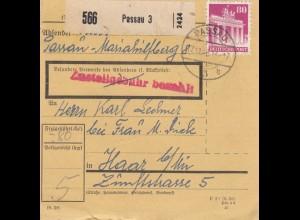 BiZone Paketkarte 1948: Passau 3 nach Haar b. München