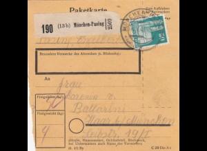 BiZone Paketkarte 1948: München-Pasing nach Haar bei München