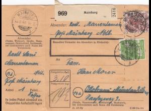 BiZone Paketkarte 1948: Mainurg nach Ottobrunn/München
