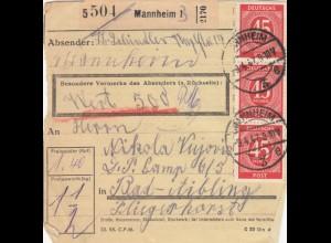 BiZone Paketkarte 1947: Mannheim nach Bad-Aiblingen, Wert 500 RM