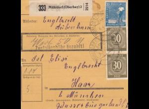 BiZone Paketkarte 1948: Mühldorf nach Haar, Wertkarte