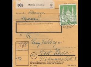 BiZone Paketkarte 1948: Murnau nach Post Haar