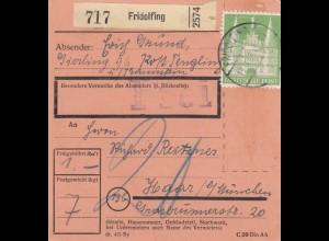 BiZone Paketkarte 1948: Tengling Fridolfing nach Haar