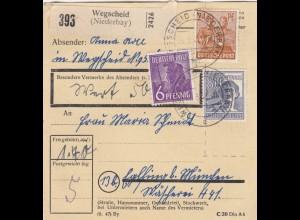 BiZone Paketkarte 1948: Wegscheid nach Eglfing, Wertkarte