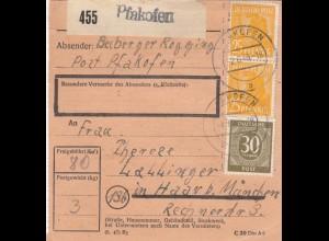 BiZone Paketkarte 1948: Pfakofen nach Haar