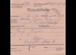 BiZone Paketkarte 1948: Kirchanschöring nach Haar, Notpaketkarte