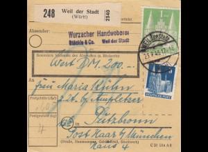 BiZone Paketkarte 1948: Weil der Stadt nach Putzbrunn, Wert 200 DM