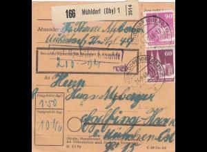 BiZone Paketkarte 1948: Mühldorf nach Eglfing, Wert 200 DM