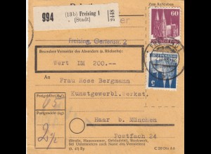 BiZone Paketkarte 1948: Freising nach Haar, Wert 200 DM