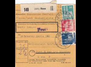 BiZone Paketkarte 1948: Füssen nach Haar, Heilanstalt, Baronesse
