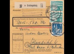 BiZone Paketkarte 1948: Grafengehaig nach Haar, Wertkarte