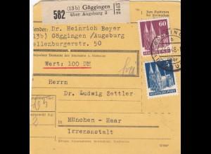 BiZone Paketkarte 1948: Göggingen nach Haar, Irrenanstalt