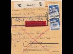 BiZone Paketkarte 1948: Teisendorf nach Eglfing, Eilbote, Wertkarte