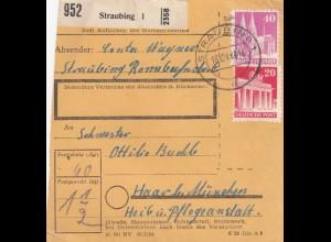 BiZone Paketkarte 1948: Straubing nach Haar, Pflegeanstalt