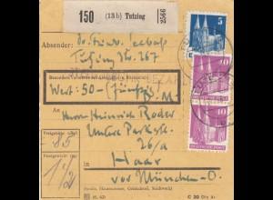 BiZone Paketkarte 1948: Tutzing nach Haar, Wertkarte