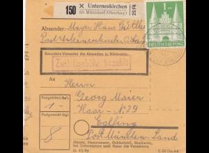 BiZone Paketkarte 1948: Unterneukirchen nach Haar Eglfing