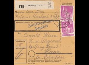 BiZone Paketkarte 1948: Landsberg, Kolonie Hurlach, nach Eglfing